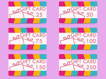 Gift card with a gift box. Set of vector illustrations. Royalty Free Stock Photo