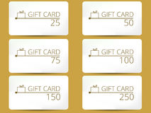 Gift card with a gift box. Set of vector illustrations. Royalty Free Stock Image