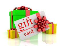 Gift card and gifts. 3D render Stock Image
