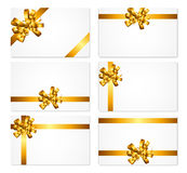 Gift Card with Gold Bow and Ribbon Set Vector Royalty Free Stock Photos