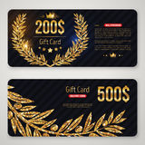 Gift card with gold laurel wreath and olive branch Stock Image