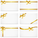 Gift card with gold ribbons and bow set royalty free stock images