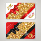 Gift Card with Gold Texture, Black and Red Bow Stock Image