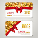 Gift Card with Golden Foil Texture and Red Bow Stock Image