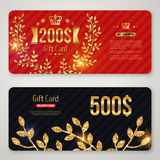 Gift Card with Golden Laurel Wreath and Branches Royalty Free Stock Photos