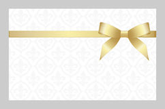 Gift Card With Golden Ribbon And A Bow. Invitation - vector image. Gift Card With Golden Ribbon And A Bows. Gift Voucher Template with place for text. Invitation royalty free illustration