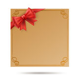 Gift card with golden swirl frame Royalty Free Stock Image