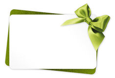 Gift card with green ribbon bow on white background Royalty Free Stock Image
