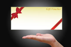 Gift Card with hand. For celebration concept stock illustration