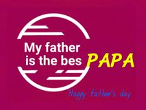 This is a gift card of happy father`s day, vector. originality  white color round. stock image