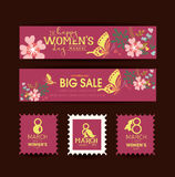 Gift card. Happy International Women Day. March 8. Women holiday. Vector Women`s Day card,envelope,poster. Number eight, butterflies flying on background Stock Illustration