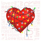 Valentine gift card with heart and lanterns stock illustration