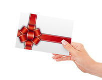 Gift card holded by hand isolated over white Stock Photos
