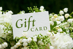 Gift card. Ily of the valley, snowball and gift card Stock Photo