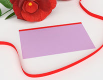 Gift Card Indicates Surprise Tag And Rose Royalty Free Stock Photos
