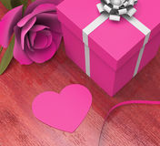 Gift Card Indicates Valentines Day And Celebration Royalty Free Stock Images