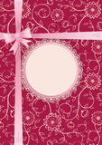 Gift card with lace frame and ribbon Royalty Free Stock Images