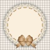 Gift card with lace, ribbon, silk ribbon, place for text. Royalty Free Stock Images