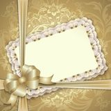 Gift card with lace, ribbons Stock Photography