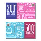Gift card linear set for living room furniture Stock Images