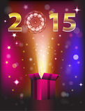 Gift card 2015. Magical gift card for 2015 New Year. Vector illustration Stock Photo
