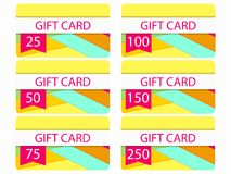 Gift card in material design style. Layers of cut paper. The cards cost in 25, 50, 75 100, 150, 250. Set of vector. Illustration Stock Photos