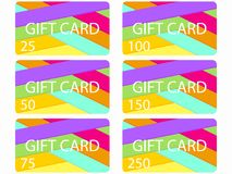 Gift card in material design style. Layers of cut paper. The cards cost in 25, 50, 75 100, 150, 250. Set of vector. Illustration Stock Image