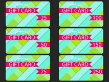 Gift card in material design style. Layers of cut paper. The carGift card in material design style. Layers of cut paper. The cards. Gift card in material design Stock Photo
