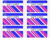 Gift card modern design with stripes. Blue and pink colors. The cards cost in 25, 50, 75 100, 150, 250. Vector. Illustration Stock Photography