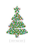 Gift card for the New year. Group of Santa Clauses, snowmen, deer, trees and Snow Maidens stand in the figure of the Christmas tree. Vector illustration on white Stock Photos
