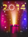 2014 gift card. Gift card for 2014 New Year. Vector illustration Stock Illustration