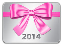 2014 gift card. With nice pink bow. Ribbon. Vector illustration Vector Illustration