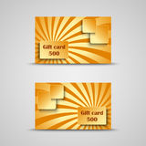 Gift card with orange striped background Stock Photography
