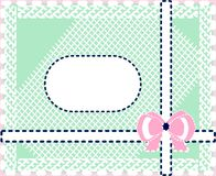 Gift card in pastel colours. Gift card with bow and lace in pastel colours . Pink , white , green , blue color perfectly combined with each other Royalty Free Stock Photography