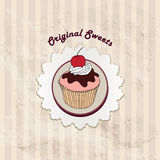 Gift card with pastry. Muffin on napkin in retro style over polka dot seamless pattern. Sweets  set. Royalty Free Stock Image
