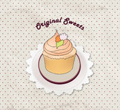 Gift card with pastry. Muffin on napkin in retro style over polka dot seamless pattern. Sweets  set. Royalty Free Stock Images