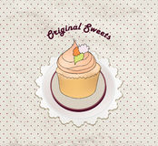 Gift card with pastry. Muffin on napkin in retro style over polka dot seamless pattern. Sweets  set. Royalty Free Stock Photography