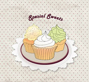 Gift card with pastry. Muffin on napkin in retro style over polka dot seamless pattern. Sweets  set. Stock Photography