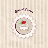 Gift card with pastry. Muffin on napkin in retro style over polka dot seamless pattern. Sweets  set. Royalty Free Stock Photo