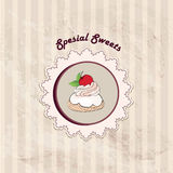 Gift card with pastry. Muffin on napkin in retro style over polka dot seamless pattern. Sweets  set. Vintage cupcake backgr Royalty Free Stock Photos