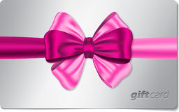 Gift card with pink bow Royalty Free Stock Photo