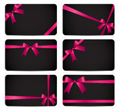 Gift Card with Pink Ribbon and Bow. Vector illustration Royalty Free Stock Photography