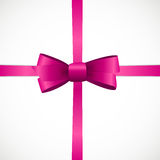 Gift Card with Pink Ribbon and Bow. Vector illustration Royalty Free Stock Images