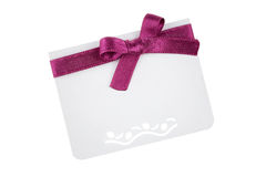 Gift Card. With pink ribbon on white background stock image