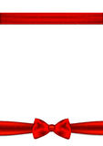 Gift card with place for text. Red ribbon and bow. On a white background Stock Photos