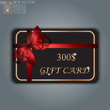 Gift card with realistic ribbon Stock Image