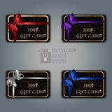 Gift card with realistic ribbon Royalty Free Stock Photo