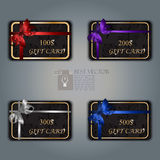 Gift card with realistic ribbon. Very high quality original trendy vector gift card set with realistic ribbon can be used for gifts, presents, banners, sale, web Royalty Free Stock Photos