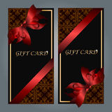 Gift card with realistic ribbon Royalty Free Stock Images