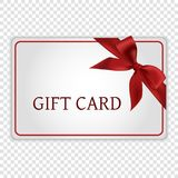 Gift card. With red bow and ribbon Royalty Free Stock Photography